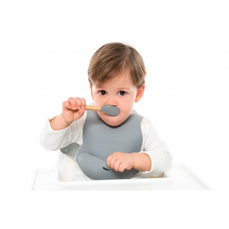 Lot 2 cuillères silicone & bambou Minikoioi - Gris/Vert - Vaisselle pour bébé par Minikoioi