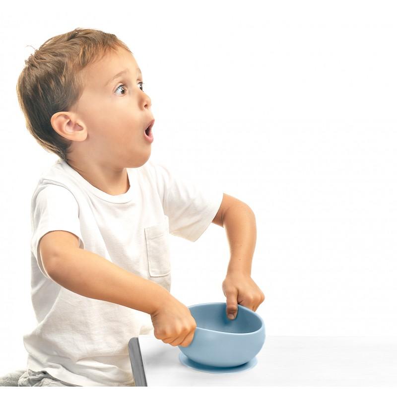 Bol antidérapant + couvercle en silicone Minikoioi - Gris - Vaisselle pour bébé par Minikoioi