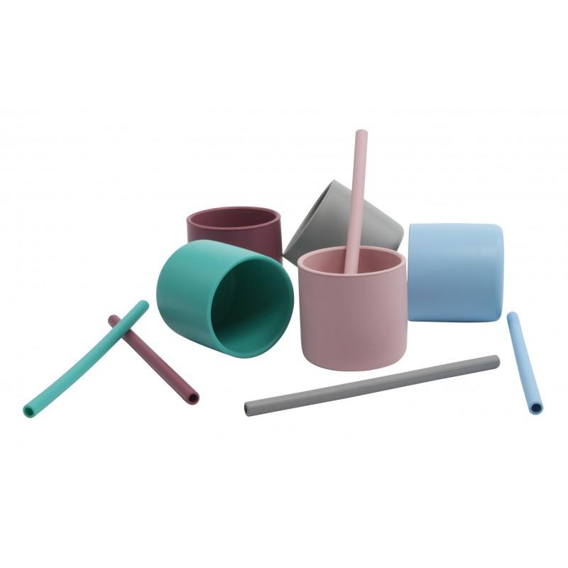 Pailles silicone x 4 Minikoioi - Assort. rose - Vaisselle pour bébé par Minikoioi