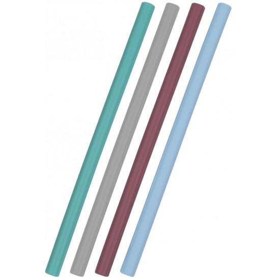 Pailles silicone x 4 Minikoioi - Assort. bleu - Vaisselle pour bébé par Minikoioi