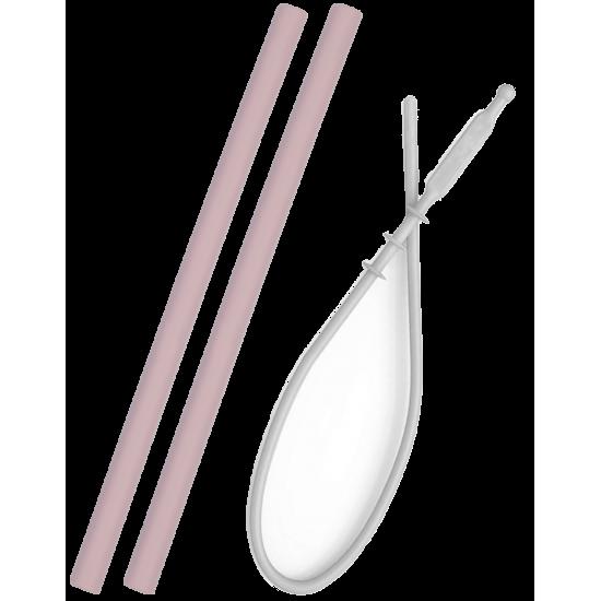 Set 2 pailles silicone + brosse de nettoyage Minikoioi - Rose - Vaisselle pour bébé par Minikoioi