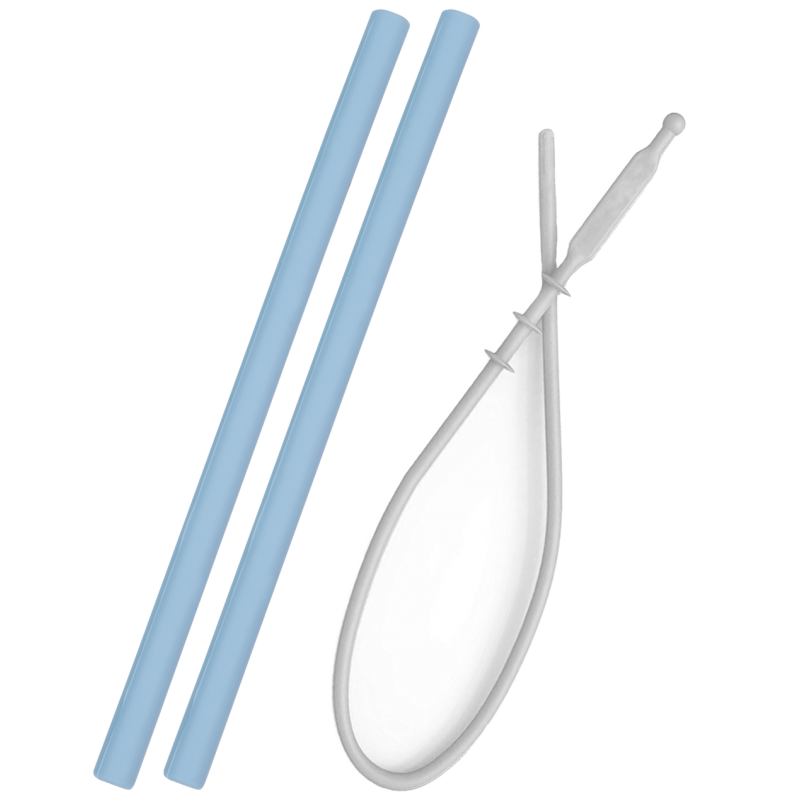 Set 2 pailles silicone + brosse de nettoyage Minikoioi - Bleu - Vaisselle pour bébé par Minikoioi