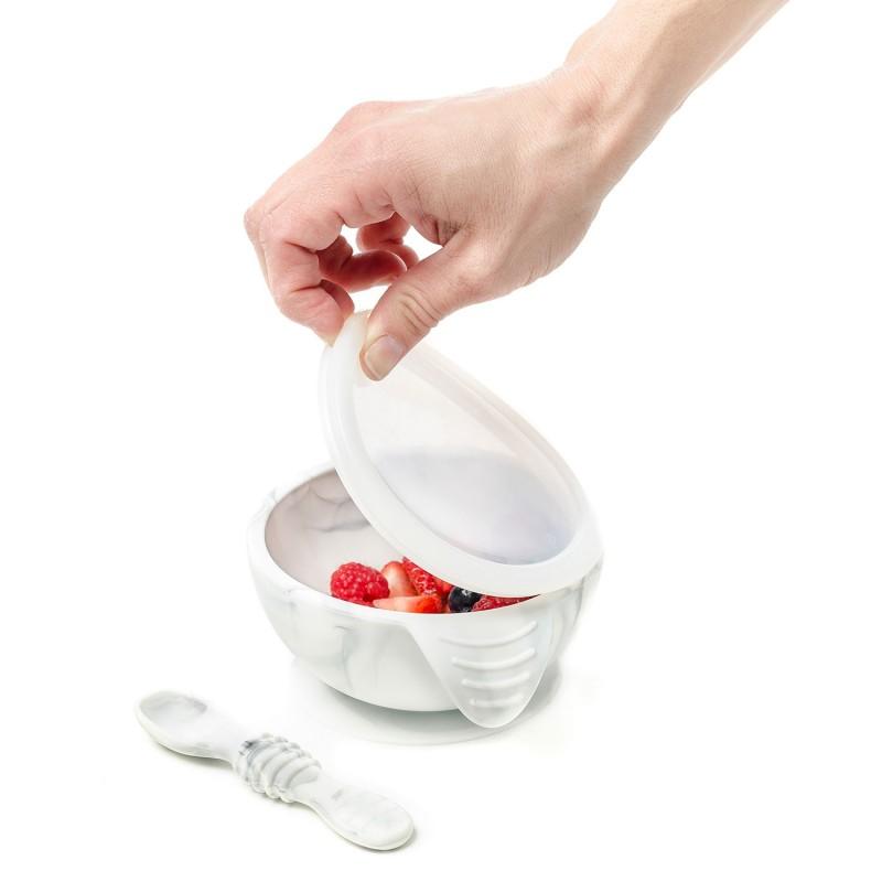 Mon 1er Set Repas en silicone marbré - Vaisselle pour bébé par Bumkins