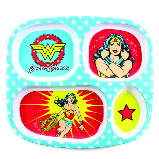 """Assiette à compartiments """"Wonder Woman"""" - Vaisselle pour bébé par DC Comics"""