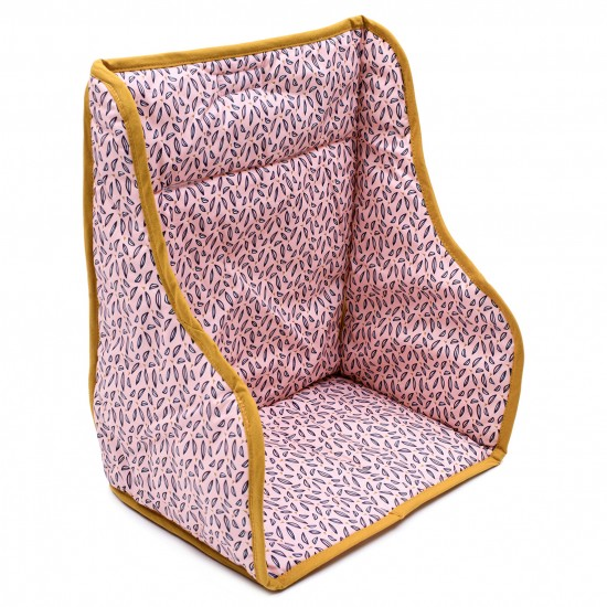 Coussin de chaise haute en coton enduit rose / moutarde - Chaises hautes et Rehausseurs par BB&Co