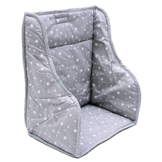 Coussin de chaise haute en coton enduit étoiles gris/blanc - Chaises hautes et Rehausseurs par BB&Co