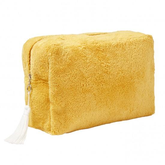 Trousse de toilette éponge bambou moutarde - Accueil par BB&Co