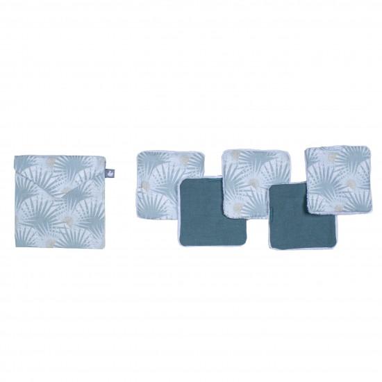 Lingettes lavables & pochette assortie imprimé palmiers / vert - Lingettes lavables par BB&Co