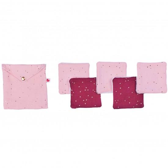 Lingettes lavables & pochette assortie blush/prune pois or - Lingettes lavables par BB&Co