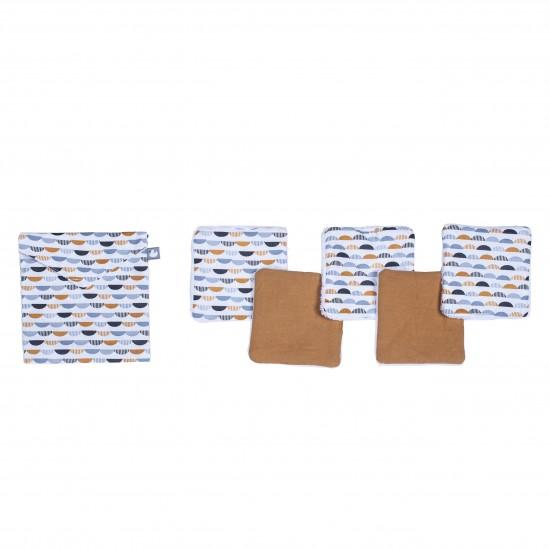 Lingettes lavables & pochette assortie demi-lunes / camel / gris - Lingettes lavables par BB&Co