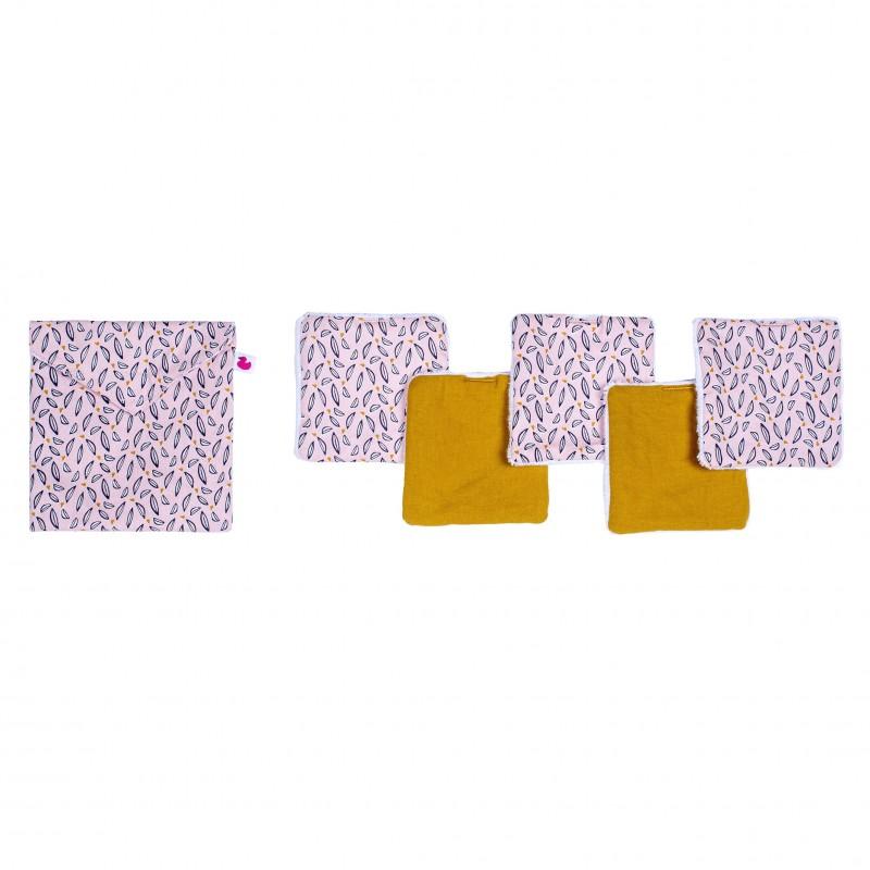 Lingettes lavables & pochette assortie rose / moutarde - Lingettes lavables par BB&Co