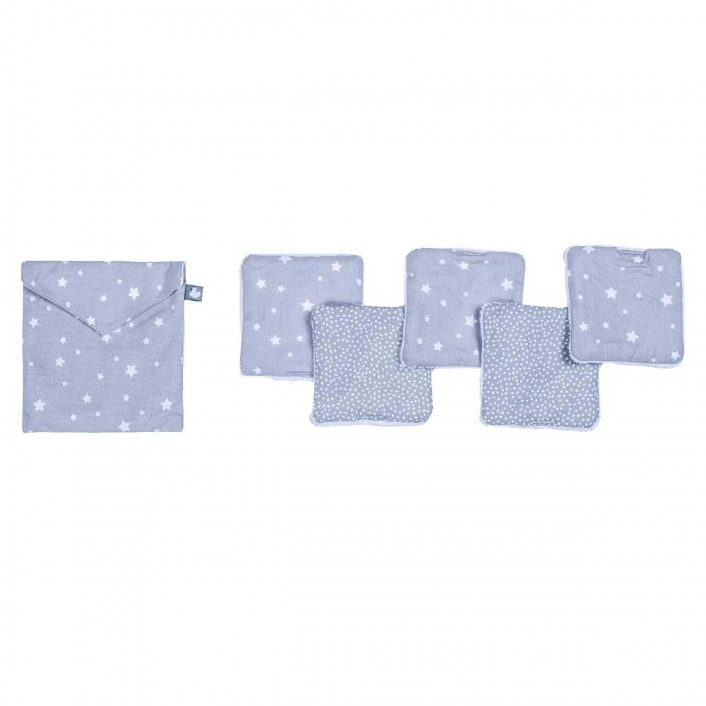 Lingettes lavables & pochette assortie étoiles gris/blanc - Lingettes lavables par BB&Co