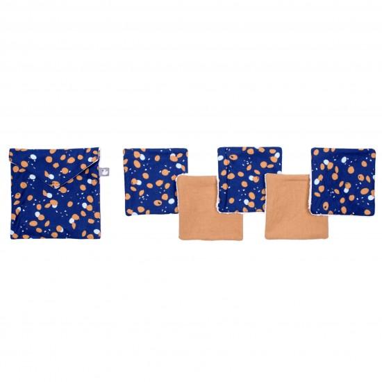 Lingettes lavables & pochette assortie imprimé indigo/lagon/camel - Lingettes lavables par BB&Co