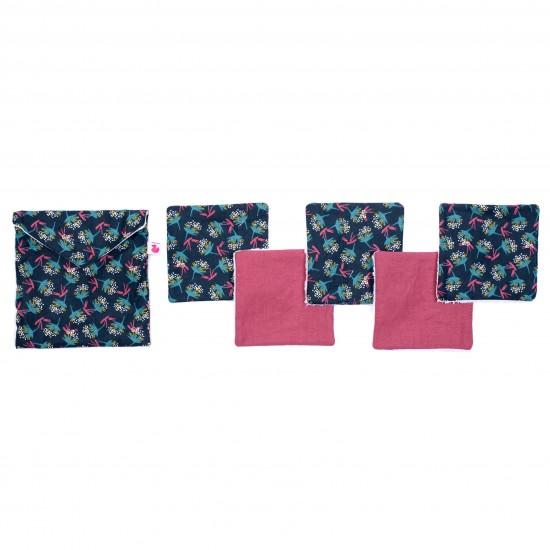 Lingettes lavables & pochette assortie imprimé fleurs vintage / framboise - Lingettes lavables par BB&Co