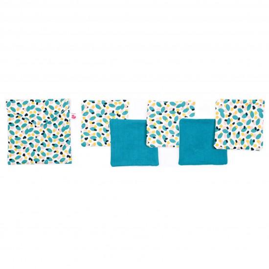 Lingettes lavables & pochette assortie imprimé multicolore / vert émeraude - Lingettes lavables par BB&Co