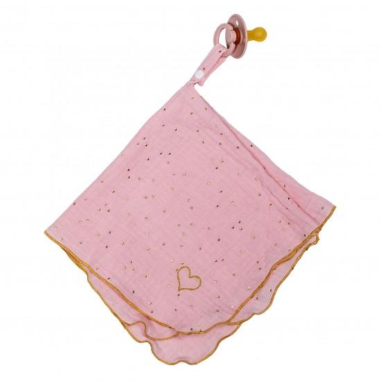 Doudoulange (doudou attache-sucette) double gaze blush pois or - Attache-tétines par BB&Co
