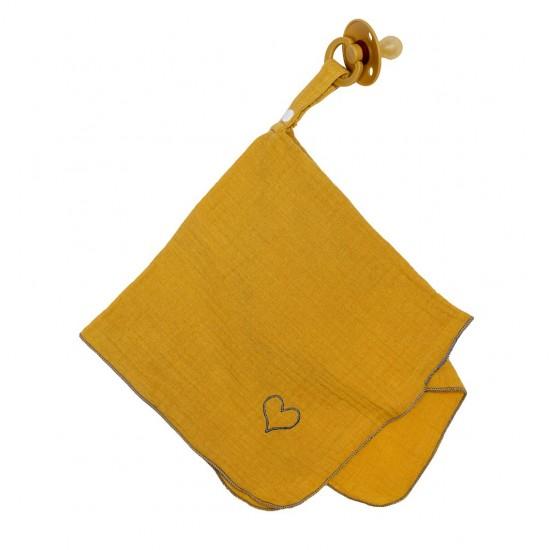 Doudoulange (doudou attache-sucette) double gaze uni moutarde - Attache-tétines par BB&Co