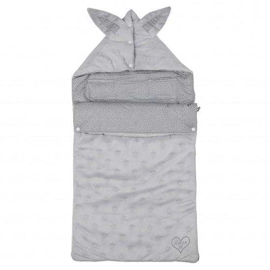 Nid d'ange en Minky & coton gris/blanc - Plaids & Nids d'Ange par BB&Co