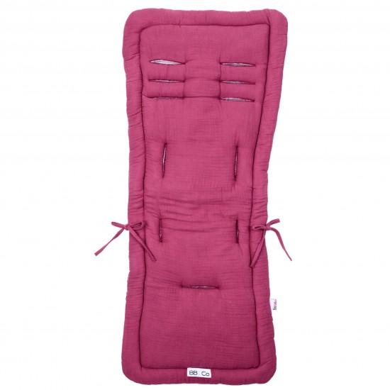 Assise poussette en double gaze framboise - Accessoires poussette par BB&Co