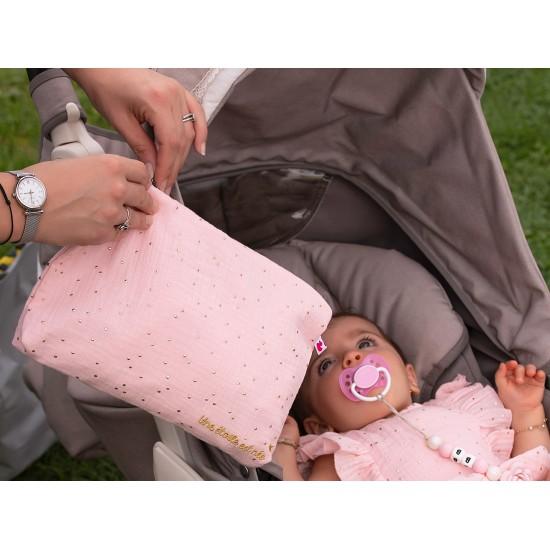 """Baby Trousse double gaze """"Une étoile est née"""" rose blush pois or - Pochettes & Sacs à langer par BB&Co"""