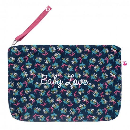 """Baby Trousse coton """"Baby Love"""" imp. fleurs vintage / framboise - Pochettes & Sacs à langer par BB&Co"""