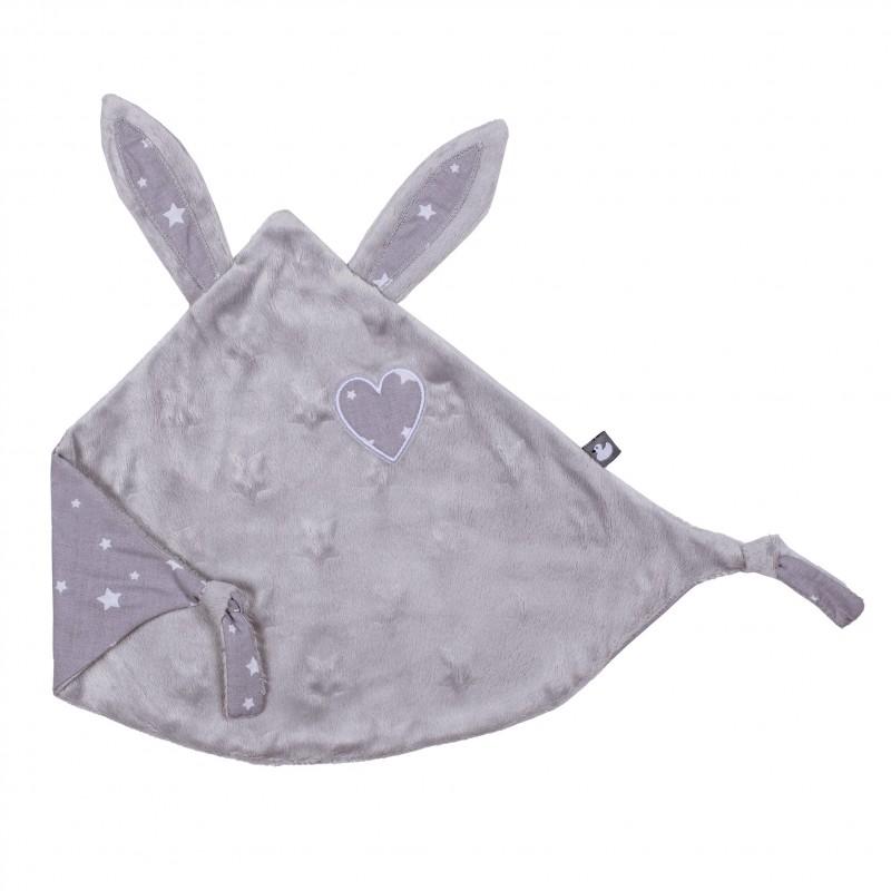 Doudou lapin petit cœur imprimé étoiles gris/blanc - Doudous par BB&Co