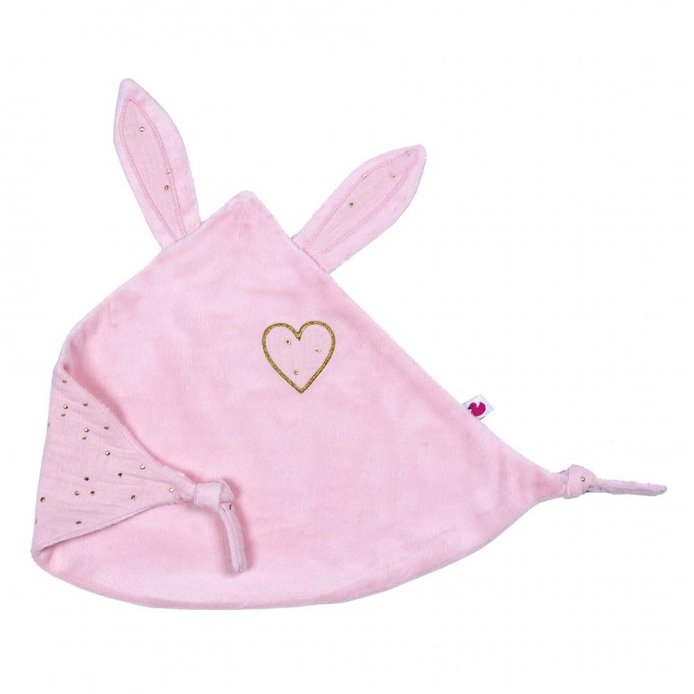 Doudou lapin petit cœur blush pois or - Doudous par BB&Co