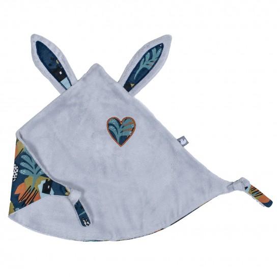 Doudou lapin petit cœur gris clair / imprimé savane - Doudous par BB&Co