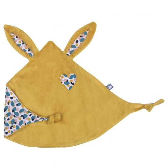 Doudou lapin petit cœur moutarde / multicolore - Doudous par BB&Co