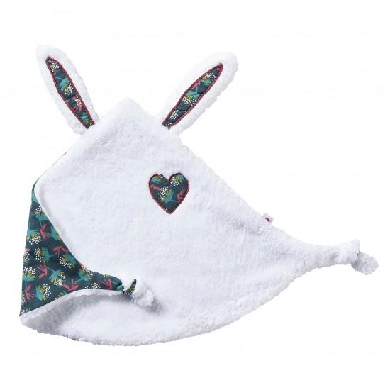 Doudou lapin petit cœur blanc / imprimé fleurs - Doudous par BB&Co
