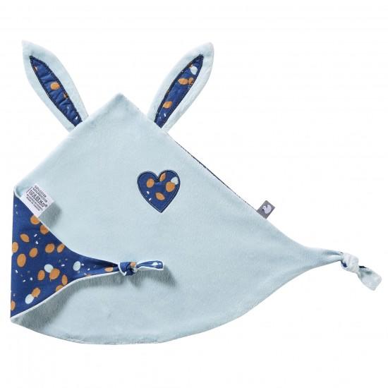 Doudou lapin petit cœur lagon / indigo - Doudous par BB&Co