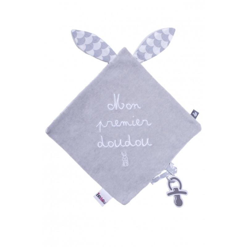 """Doudou lapin velours brodé """"Mon premier doudou"""" gris/blanc - Doudous par BB&Co"""