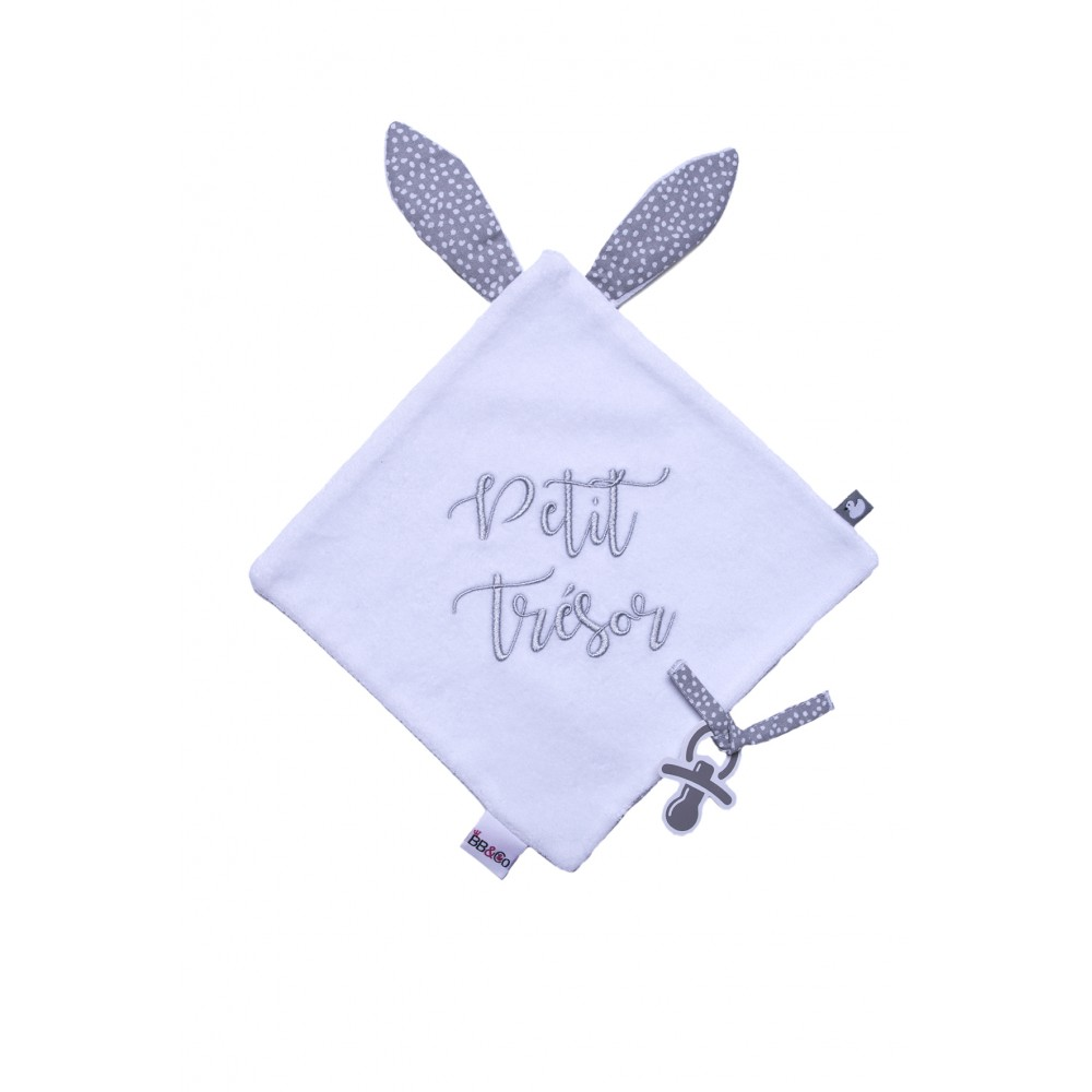 """Doudou lapin en velours brodé """"Petit Trésor"""" blanc/gris - Doudous par BB&Co"""