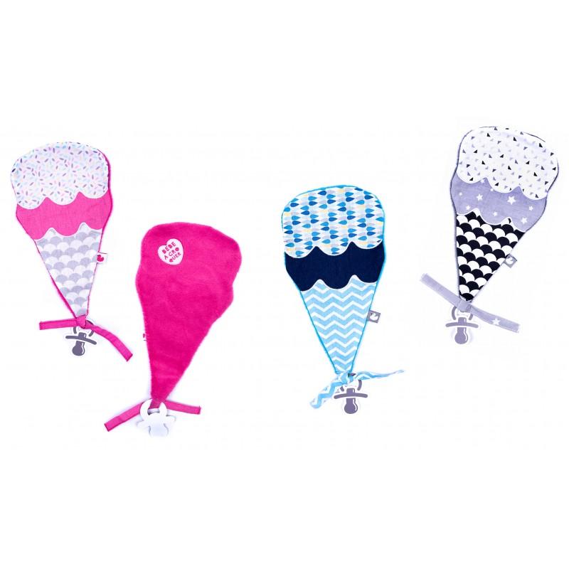 Doudou ice cream rose / gris / blanc - Doudous par BB&Co