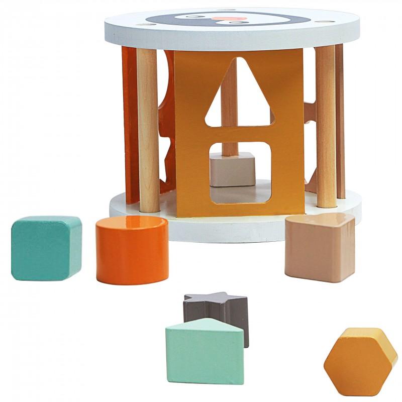 Boîte à formes géométriques en bois Pingouin - Jouets par Magni