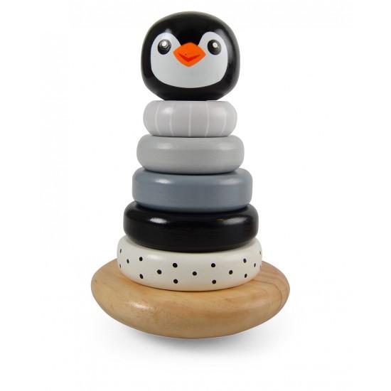 Jouet en bois : Pyramide à empiler Pingouin - gris - Jouets par Magni