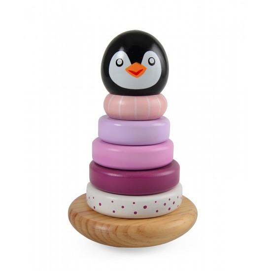 Jouet en bois : Pyramide à empiler Pingouin - rose - Jouets par Magni