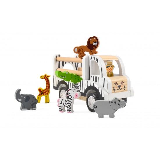 Camion Zoo & 6 animaux en bois - Jouets par Magni