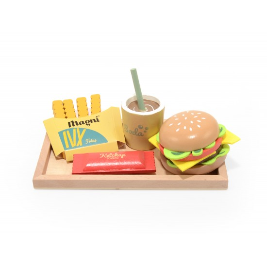 Set Burger en bois (plateau + burger + frites + ketchup + soda) - Jouets par Magni