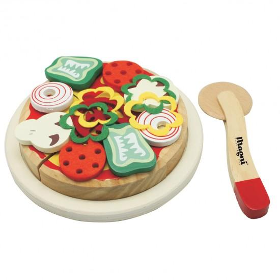 Set Pizza en bois avec boîte et accessoires - Jouets par Magni