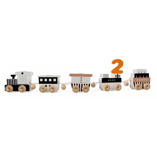 Train anniversaire en bois noir & blanc - Jouets par Magni