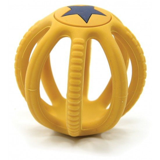 Balle dentition en silicone - jaune - Hochets & Anneaux de dentition par Magni