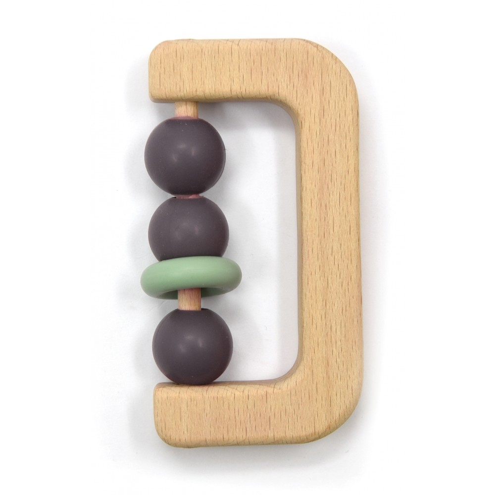 Hochet bois avec billes silicone taupe - Hochets & Anneaux de dentition par Magni