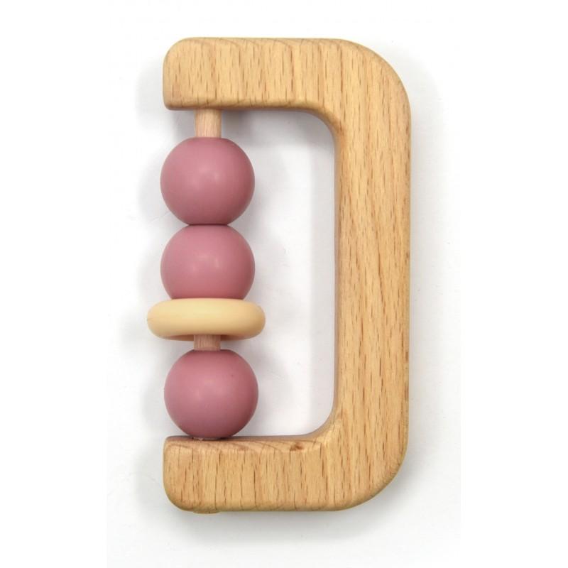 Hochet bois avec billes silicone rose - Hochets & Anneaux de dentition par Magni