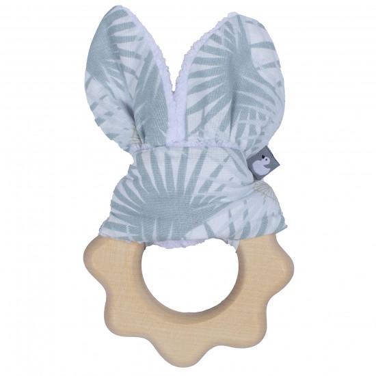 Hochet dentition bois & coton imprimé palmiers - Hochets & Anneaux de dentition par BB&Co