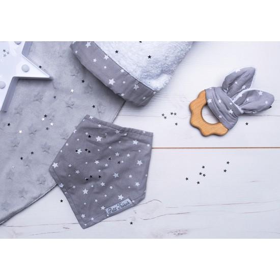 Hochet dentition bois & coton - étoiles gris/blanc - Hochets & Anneaux de dentition par BB&Co