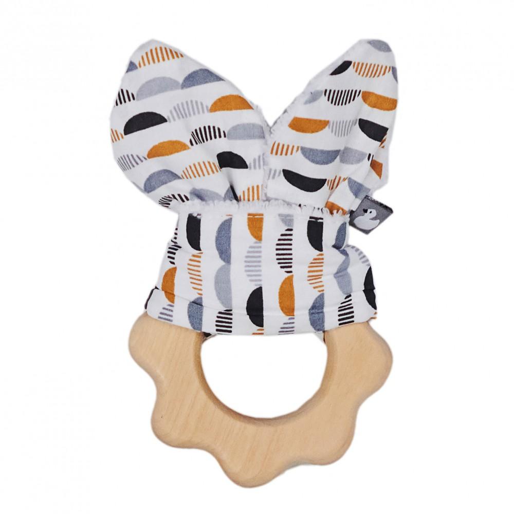 Hochet dentition bois & coton - gris/blanc/camel - Hochets & Anneaux de dentition par BB&Co
