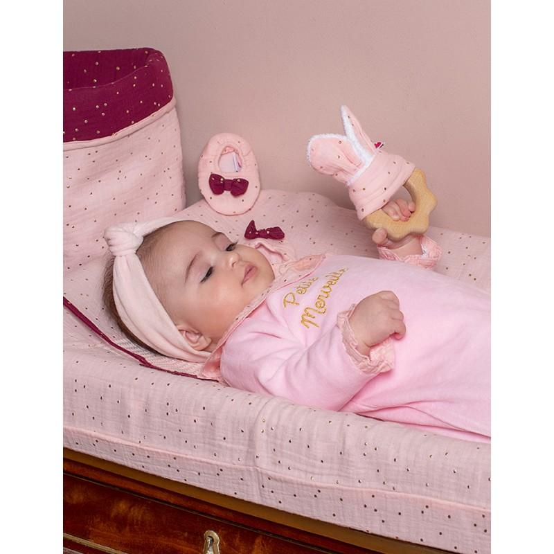 Hochet dentition bois & coton - gaze blush pois or - Hochets & Anneaux de dentition par BB&Co
