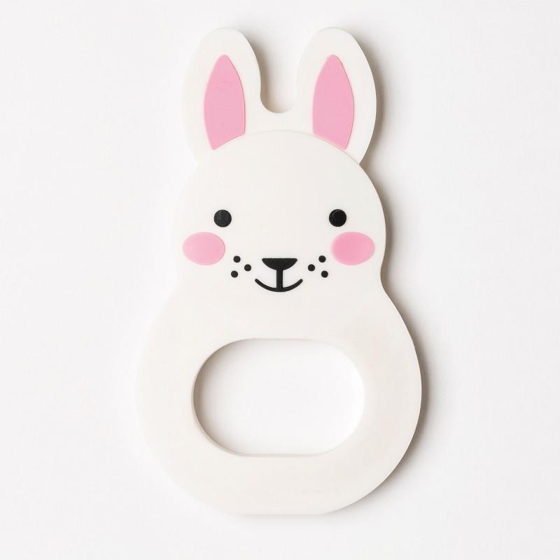"""Anneau de dentition """"Bo Bunny"""" blanc/rose - Décoration par Rosa & Bo"""