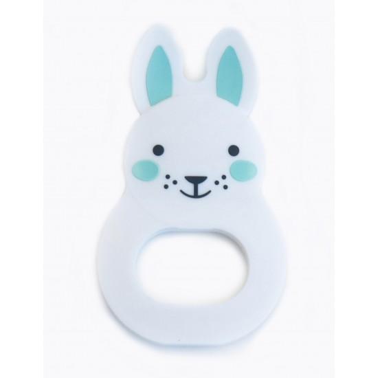 """Anneau de dentition """"Bo Bunny"""" blanc/bleu - Hochets & Anneaux de dentition par Rosa & Bo"""
